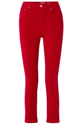 RE/DONE by LEVI'S Cropped high-rise stretch-velvet skinny pants