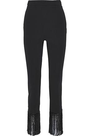 CUSHNIE Fringed crepe slim-leg pants