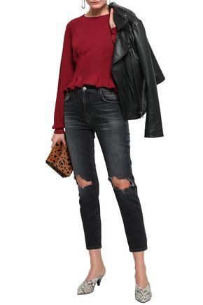 CURRENT/ELLIOTT The Vintage Cropped distressed high-rise slim-leg jeans