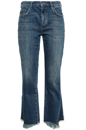 CURRENT/ELLIOTT Cropped frayed mid-rise bootcut jeans