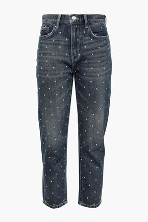 CURRENT/ELLIOTT The Vintage Cropped studded high-rise slim-leg jeans