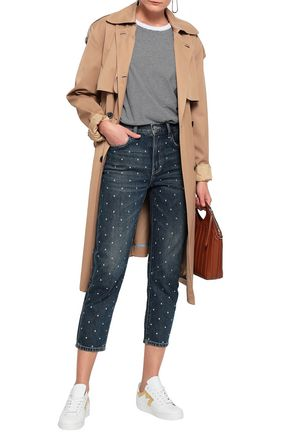 CURRENT/ELLIOTT The Vintage Cropped studded high-rise slim-leg jeans
