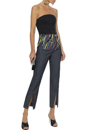 CUSHNIE Embellished twill bootcut pants