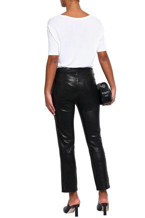 J BRAND Cropped stretch-leather slim-leg pants