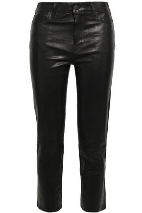 J BRAND Cropped stretch-leather slim-leg pants