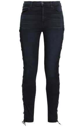 J BRAND Lace-up cutout high-rise skinny jeans