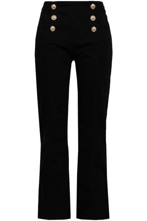 BALMAIN Button-detailed high-rise tapered jeans