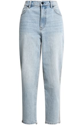 ALEXANDER WANG French cotton terry-paneled high-rise straight-leg jeans