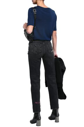 ALEXANDER WANG Embroidered distressed high-rise straight-leg jeans