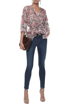 IRO Distressed mid-rise skinny jeans