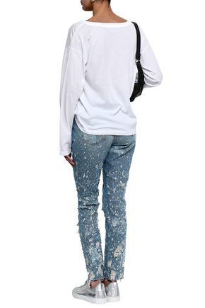 ALEXANDER WANG Distressed high-rise slim-leg jeans