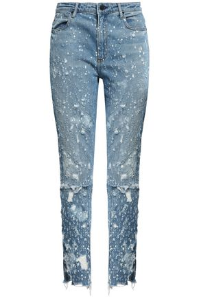 ALEXANDER WANG Distressed high-rise slim-leg jeans