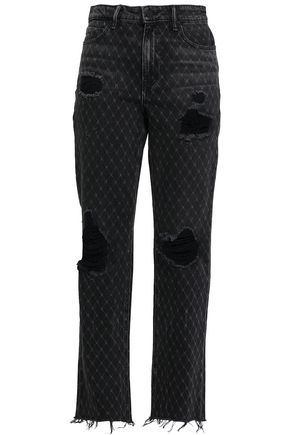 ALEXANDER WANG Distressed printed high-rise straight-leg jeans