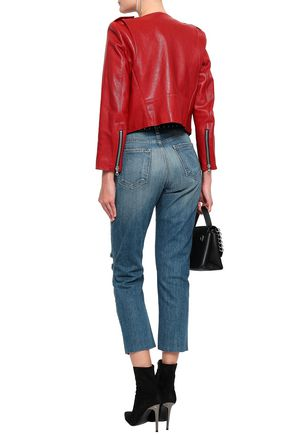 CURRENT/ELLIOTT The Vintage Cropped distressed high-rise slim-leg jeans
