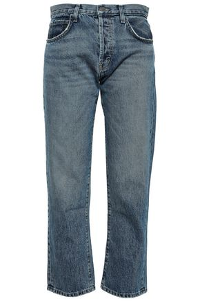 CURRENT/ELLIOTT Faded mid-rise straight-leg jeans