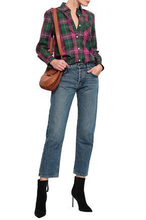 CURRENT/ELLIOTT Faded mid-rise straight-leg jeans