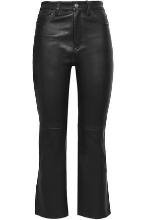 CURRENT/ELLIOTT Cropped stretch-leather bootcut pants