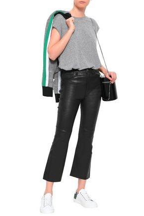 Current Elliott Current/Elliott Woman Cropped Stretch-Leather Bootcut Pants Black