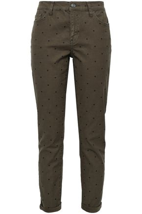 CURRENT/ELLIOTT The Easy Stiletto polka-dot stretch-cotton skinny pants