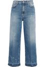 7 FOR ALL MANKIND Cropped distressed high-rise wide-leg jeans