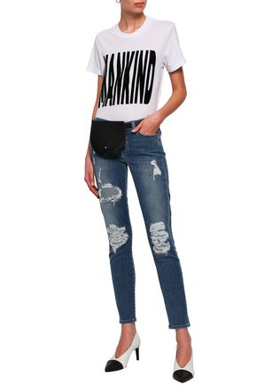 7 FOR ALL MANKIND Distressed mid-rise skinny jeans