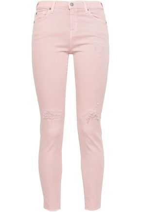 7 FOR ALL MANKIND Cropped distressed mid-rise skinny jeans