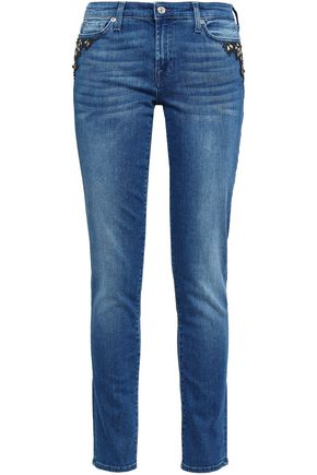 7 FOR ALL MANKIND Embellished mid-rise slim-leg jeans
