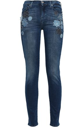 7 FOR ALL MANKIND Appliquéd mid-rise skinny jeans