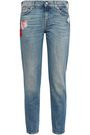 7 FOR ALL MANKIND Embroidered faded mid-rise slim-leg jeans