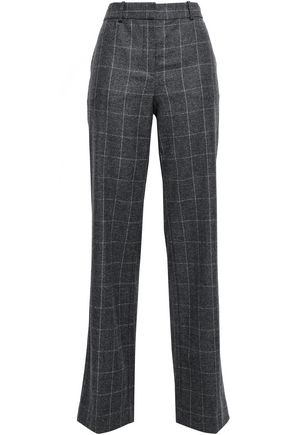 EQUIPMENT Checked wool-blend wide-leg pants