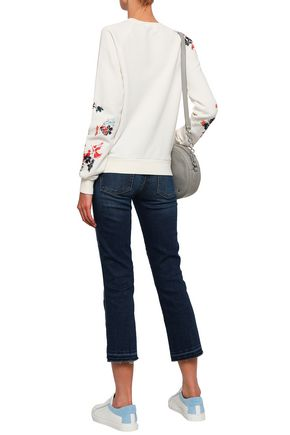 7 FOR ALL MANKIND Cropped faded mid-rise slim-leg jeans