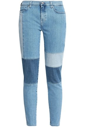 7 FOR ALL MANKIND Patchwork mid-rise skinny jeans