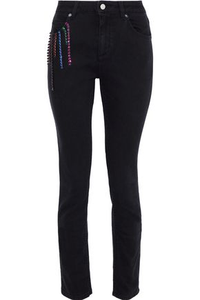 CHRISTOPHER KANE Crystal-embellished high-rise skinny jeans