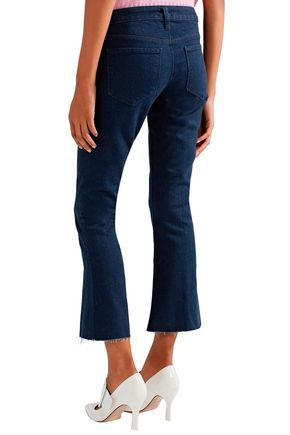 L'AGENCE The Charlie cropped frayed low-rise flared jeans