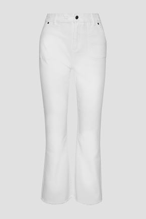 ZIMMERMANN Cropped distressed high-rise bootcut jeans