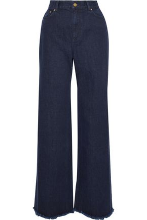 ZIMMERMANN Frayed high-rise wide-leg jeans