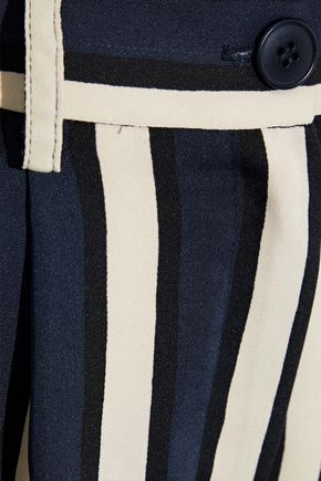 IRIS & INK Faye pleated striped stretch-crepe culottes