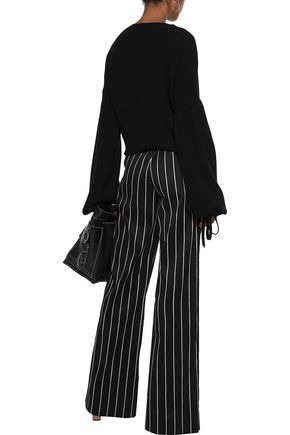 ZIMMERMANN Maples Collegiate pinstriped cotton-blend sateen wide-leg pants