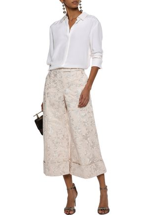 ZIMMERMANN Maples cropped embroidered cotton wide-leg pants