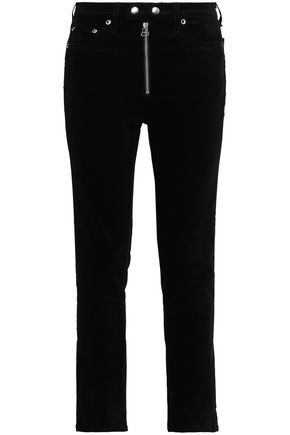 RAG & BONE Cropped cotton-blend velvet slim-leg pants