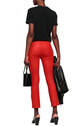 RAG & BONE Cropped leather slim-leg pants