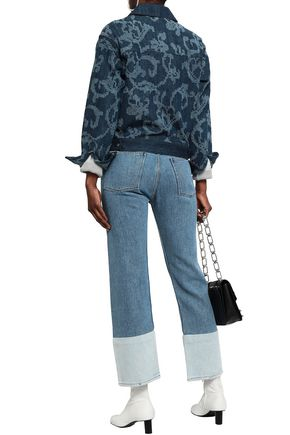 RAG & BONE Cropped two-tone high-rise straight-leg jeans