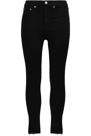 RAG & BONE Cropped frayed high-rise skinny jeans