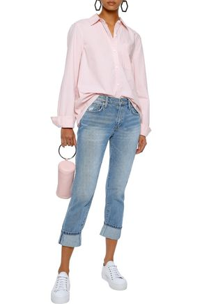 CURRENT/ELLIOTT The Fling cropped distressed mid-rise slim-leg jeans