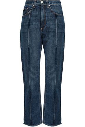 RAG & BONE Cropped faded high-rise straight-leg jeans
