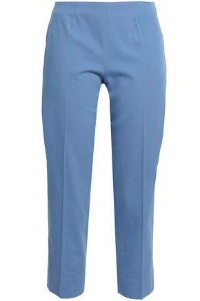 PIAZZA SEMPIONE Cropped stretch-cotton twill slim-leg pants