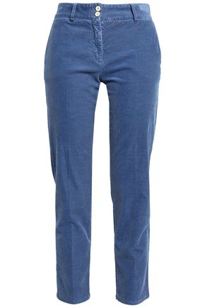 PIAZZA SEMPIONE Cotton-blend corduroy straight-leg pants