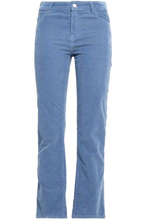 PIAZZA SEMPIONE Cropped stretch-cotton corduroy straight-leg pants