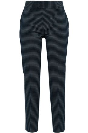 PIAZZA SEMPIONE Cropped checked jacquard slim-leg pants