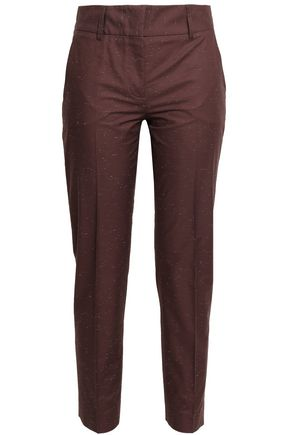 PIAZZA SEMPIONE Cotton-blend slub slim-leg pants